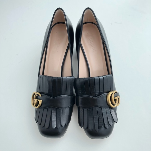 821e59904f7 Gucci Leather Mid Heel Loafer  Pump